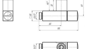 Комплект кутових кранів з квадр. корпусом