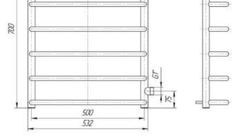 Рушникосушка Стандарт 700х500 Б/П 1″