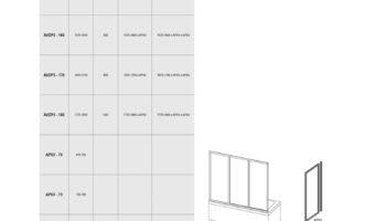 Нерухома стінка для ванни APSV- 75 Біл RAIN