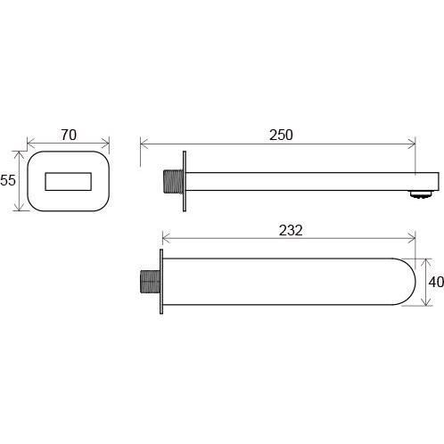 CR 027.00 Chrome Вилив для умив/ванни 230 мм