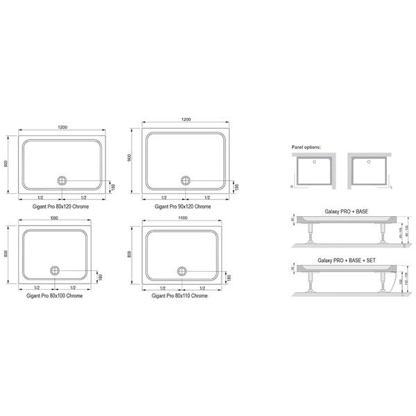 Піддон GIGANT PRO 100X80 Chrome Білий