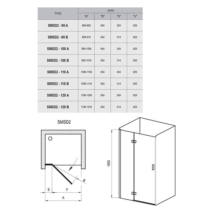 Душові двері SMSD 2-120 A-L Хром TR
