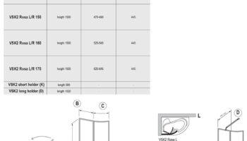 Штора для ванни VSK2 ROSA 160 R Біл RAIN