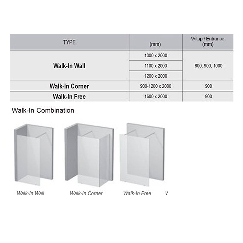 Walk In Wall-120 h.200 Полір. алюм TRANSP