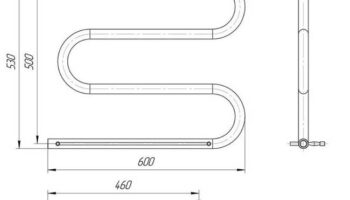 Рушникосушка Змійка 30  530х600/500 + полички