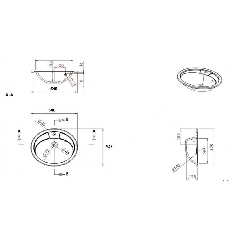 Раковина врізна BIANCA BOWL 540X425 (2105101)