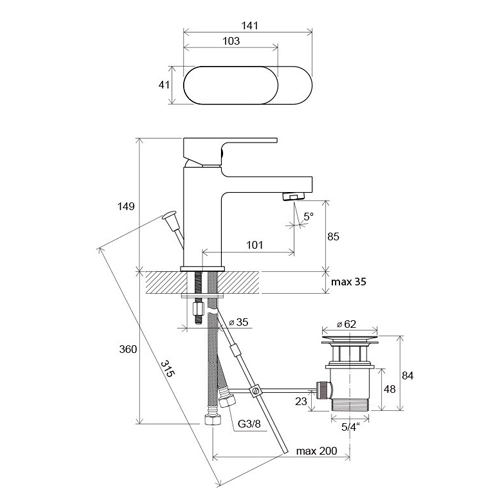 CR 011.00 Chrome Змішувач для умивальника
