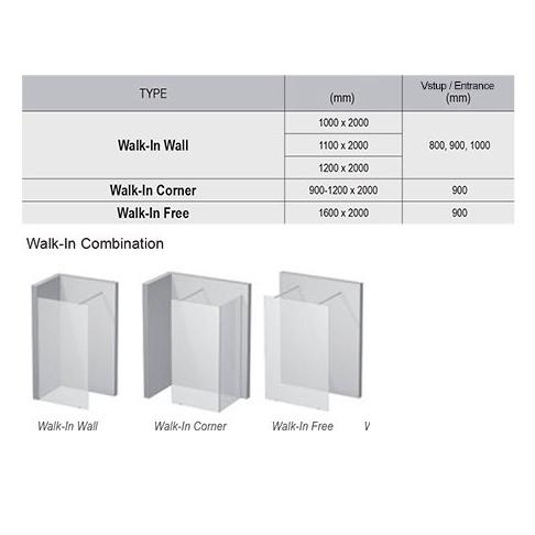 Walk In Wall-120 h.200 Полір. алюм TRANSP